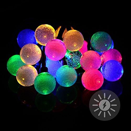 Nexos 20 LED Solar Lichterkette bunt mit Bällen Kugeln 2,2 cm mit Luftblasen Bubbles Blinkfunktion...