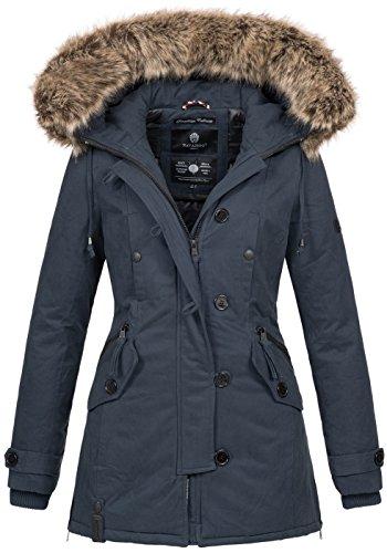 Navahoo Damen Designer Winter Jacke warme Winterjacke Parka Mantel B638 [B638-Pauline-Navy-Gr.S]
