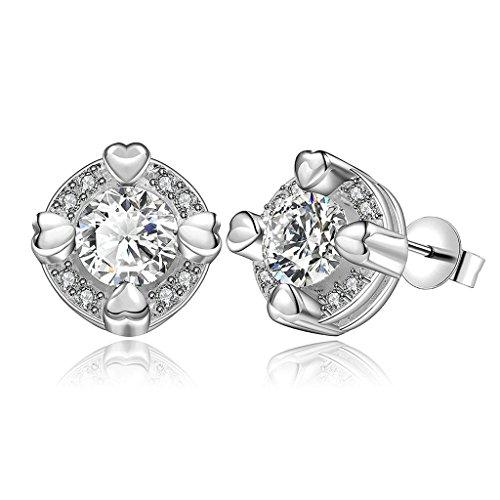 BeyDoDo Schmuck 18K Vergoldet Ohrringe Damen Ohrstecker mit Zirkonia Runde Brilliant Kristall Silber Ohrringe