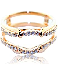 rings-midwestjewellery. com Chaqueta Anillo 1/4cttw Diamante 10 K Rose Gold Solitaire Guard 8,5 mm de ancho