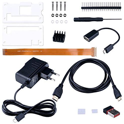 Kuman 9-en-1 Raspberry Pi Zero W Premium Súper Mega Pack (sin Placa Pi Zero) OTG Cable USB, Fuente de alimentación 2A, Clavijas, disipador de Calor, Adaptador WiFi y cámara Web FPC SC18