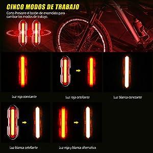 TOPELEK Luz LED Trasera Bicicleta Potente [2 Paquetes] Impermeable Luz Rojo Bici de 5 Modos de Brillo,Seguridad de Ciclismo Recargable con USB , Faro Trasero, para Cola, Mocila, Monillar, etc.