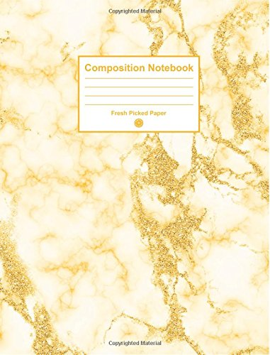 Composition Notebook: Cute College Ruled Notebook with Trendy Marble Geode Yellow Glitter Cover for Journaling, School Supplies, Note Taking, Planning and Habit Tracker