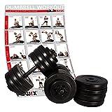 POWRX Hantel Paar inkl. Workout I Kurzhantel 2er Set 20kg 30kg 40kg I Stangen mit Sternverschlüssen gerändelt und sicher (2 x 15 kg inkl. Zusatz (10 kg))