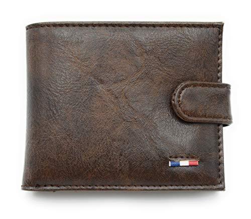Herren-Portemonnaie, Sicherheitskarte, Geldbörse, Leder, kleines Geldbeutel, Geschenk zum Geburtstag, Zubehör für Handgepäck, elegant, für Jungen Braun Dunkelbraun (Dunkelbraun mit Verschluss) -