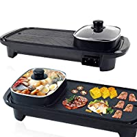 Smokeless Non-Stick Indoor 2 in 1 Electric BBQ Grill & Hot Pot Rectangular multi-functional shabu hot pot Electric Barbecue Oven for Party Family gathering