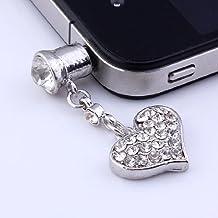 SODIAL(TM) 1 x Bouchon anti-poussi¨¨re de la prise audio pour le t¨¦l¨¦phone portable Iphone Design de coeur balan?ant en cristal