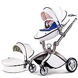 Hot Mom Cochecito de Bebe 2020 Multifuncional Sistemas de viaje, buenos amortiguadores, asiento regulable en altura, reversible, color blanco, Asiento para bebé vendido por separado