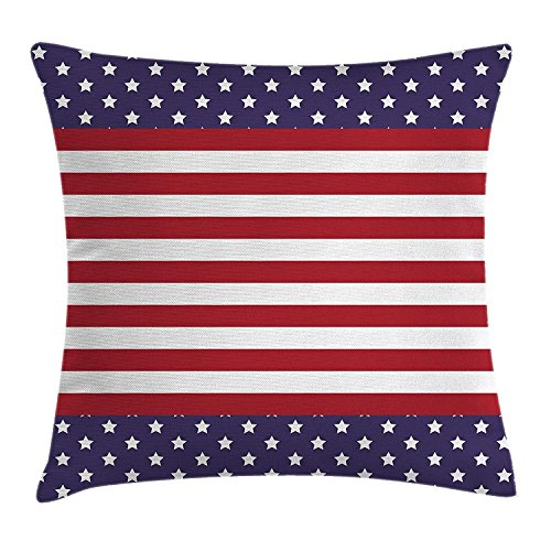 Royalty Velour (KAKICS Striped Decor Throw Pillow Cushion Cover by, American Flag with Stars Stripes USA State Royalty Emblem National Icon Country, Decorative Square Accent Pillow Case, 18 X18 Inches, Blue Red)