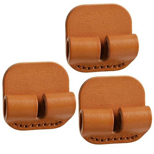 TOPHOME echtes Leder Kabel Management Organizer Mehrzweck-Kabel-Clips für Power Draht Ladekabel Kabel USB-Kabel Audio Kabel Kopfhörer Lightning in-Ear 3 Stück,Gelb