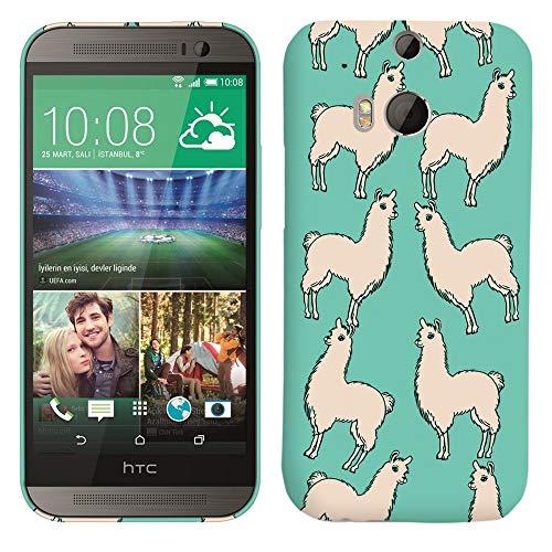 Glisten-Design Hard Kunststoff Schutzhülle für HTC One M8-Lama Blaugrün Muster Bedruckt Slim Profil Niedlichen Snap on Back Cover (Htc M8 Harten Fall)
