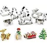 Set di 8formine per biscotti di Natale 3D in acciaio inox, stampini per biscotti fatti in casa per bambini, motivi: albero di Natale, pupazzo di neve, slitta, alce