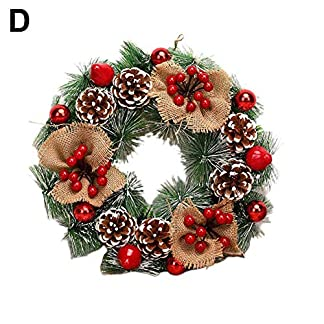 BANAMANA Corona de Navidad de 40 cm de diámetro de la Puerta Decoración de la Guirnalda de la Navidad al Aire Libre para la Puerta y decoración de la Ventana
