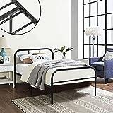 Marco de cama de metal Coavas 3 pies solo niño o adultos base sólida de bedstead con 2 cabecera Negro