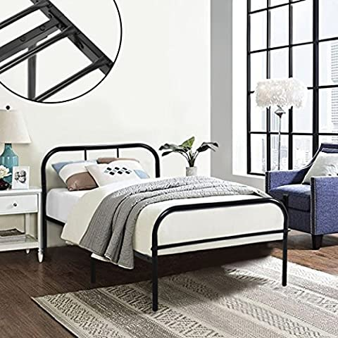 Single Metal Bed Frame Coavas 3ft Single Adults Solid Bedstead Base with 2 Headboard Metal Bed Frame Black (Send 1 Window Film by