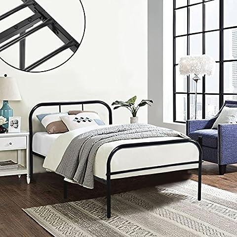 Single Bett Coavas Metall und 3ft Alleinstehenden Erwachsenen Solid Bedstelle mit 2 Kopfende Metall Einzelbett Schwarz