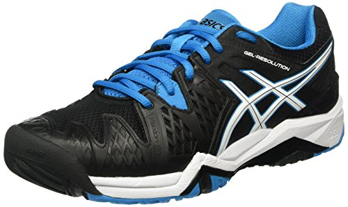 Asics Gel-Resolution 6 Herren Tennisschuhe Mehrfarbig (Black/Blue Jewel/White)