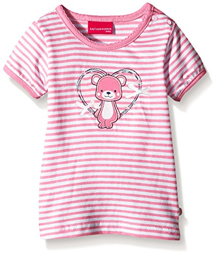 SALT AND PEPPER Baby - Mädchen T-Shirt NB Teddy Stripe, Gestreift, Gr. 56, Rosa (Bubblegum 840) (Stripe Girls Polo)