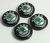 4x Skoda Logo-Emblem, grün, 56 mm, Rad Aufkleber, Radkappe Mitte, Staubkappen, 5JA, 601,151A, 5JA601151A, 5JA601151, 1JO601171,1J0601171,VRS, Sport Aufführung, Octavia, Yeti, Fabia, Superb, Citigo, Roomster, Mission, Rapid und weitere Modelle