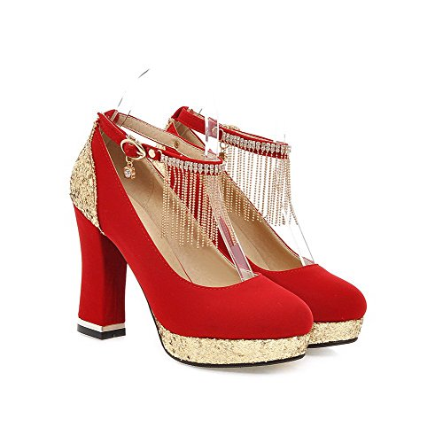 AllhqFashion Femme Rond Boucle Pu Cuir Houppe Stylet Chaussures Légeres Rouge