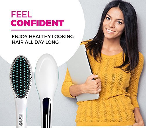 Flying Bird Simply Straight Ceramic Straightening Brush with Temperature - (Hair Straightener, Curler and Styler - MutliColor)