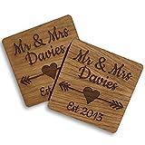 Set mit 2 hölzernen Mr. & Mrs. Untersetzern, ideales geschenk für Hochzeiten oder Jubiläen
