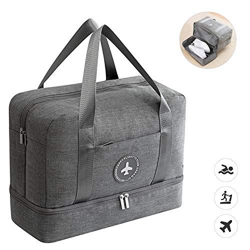 Dry Wet Separated Sporttasche, Sport Gym Duffle Reisetasche Training Handtasche Yogatasche Travel Overnight Weekend Schultertasche mit Schuhfach für Mann und Frau