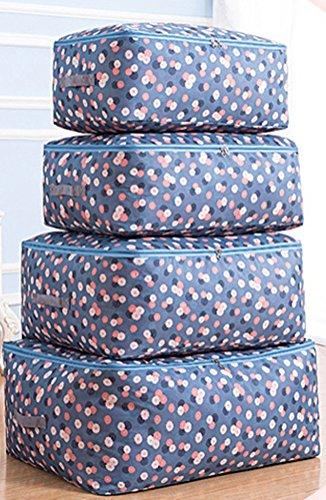 Kleideraufbewahrung Aufbewahrungstasche Bettdecken und Kissen Decken Betten Bettwaren Kissen perfekte Tragetasche oder Aufbewahrungstaschen auch für Stillshine (Set, blaue Blume)