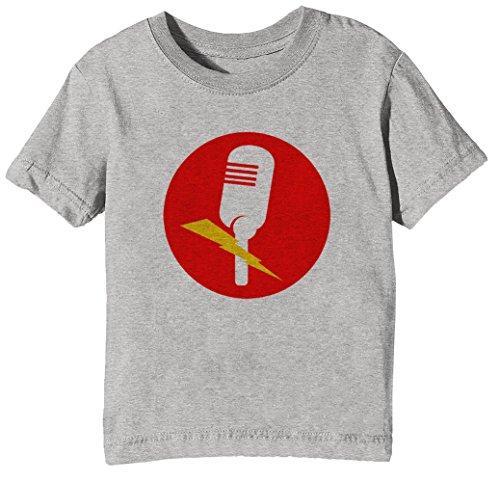 Mikrofon Kinder Unisex Jungen Mädchen T-Shirt Rundhals Grau Kurzarm Größe XL Kids Boys Girls Grey X-Large Size XL (Ohrhörer Für Teen Jungen)