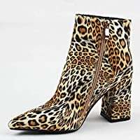 SHZSMHD Fashion Shoes Spring/autumn Women Shoes Combat Boots for Women Tiger Stripes Ankle Boots Super High Square Heel