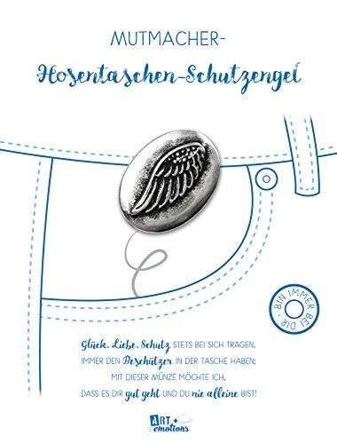 ART + emotions Hosentaschen Schutzengel – Glücksbringer und Mutmacher – 925 versilberte Münze aus Metall – ALS Geschenk oder Talisman