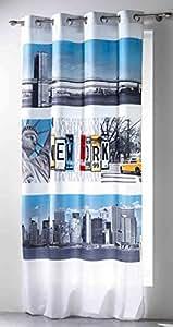 Douceur d'Intérieur Rideau avec Oeillets Imprimé NY Winter Polyester/Microfibre 140 x 260 x 260 cm