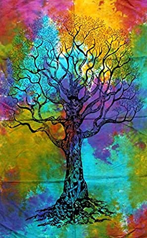 Multi Tree Indian Wall Hanging Cotton Boho Tapestry Poster Size Décor Throw 42 x 30 Inches (Posters