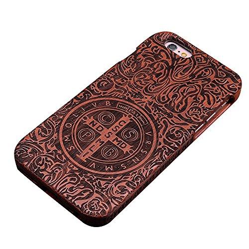 Forepin® Natur Holz Wood Hülle Handyhülle Echtem Schutz Schale Hart Cover Case Etui für iPhone 5 5S SE 4.0 Zoll - Wolf Constantine