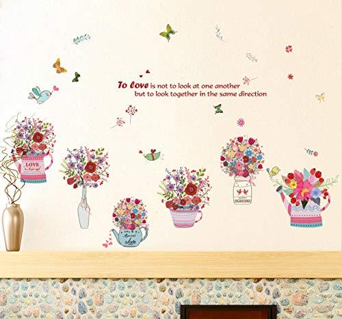 kdjshhs Wandaufkleber Handgemalte Blume Körbe Schmetterling Aufkleber Wandaufkleber PVC DIY Wohnzimmer Schlafzimmer Home Kunst Tapete Zimmer Haus Poster