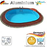 Alupool 5,85 x 3,50 x 1,25 Schwimmbecken Ovalpool Alu Swimmingpool 5,85 x 3,5 x 1,2 Ovalbecken Aluminiumpool Fertigpool oval Pool Aluminium Einbaupool Pools Gartenpool Einbaubecken Folienpool Set