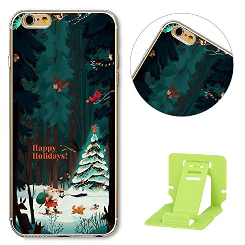 iPhone 6 Hülle,iPhone 6S Schutzhülle Defender Bumper,Ekakashop Ultra dünn Slim Bunt Christmas Weihnachten Durchsichtig Transparent Muster Weiche Silikon TPU Gel Crystal Case Defender Back Cover Protec Weihnachten Alter Baum