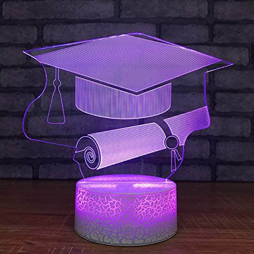 r Change 3D Led Graduation Cap Certificate Night Lights Table Lamp Lighting Study Bedroom Gifts ()
