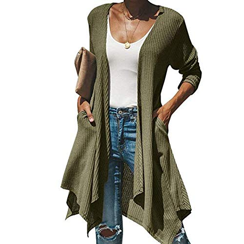 (WWricotta Womens Casual Long Sleeve Draped Open Front Long Cardigans Tops(Armeegrün,M))