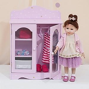 Armario de madera para muñecas de 45,7 cm de OliviasWorld TD-0210AP