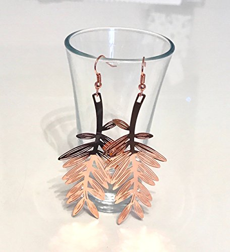 Angel Malone® 1 Paar X 71 mm Einzigartige Rose Gold Filigran Leaf Ohrring Kit Jewellery Making Findings -