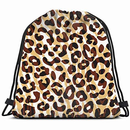 DHNKW Leopard Pattern Animals Wildlife Lightweight Drawstring Bag Sport Gym Sack Bag Backpack 17X14 Inch