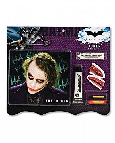Horror-Shop 7-teiliges Joker Make-up Set mit Perücke für Halloween & Karneval (Joker Halloween)
