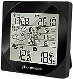 Bresser Funkwetterstation 4Cast NGB mit Wettervorhersage für 4 Tage und Nächte mit Weckfunktion, Anzeige für Regenwahrscheinlichkeit und Windgeschwindigkeit inklusive Außensensor, schwarz