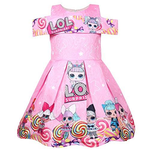 ShiJinShi Mädchen Kleid mit Schleife, Rot, Pink, Alter 3-8 Jahre Gr. 4-5 Jahre, Style04