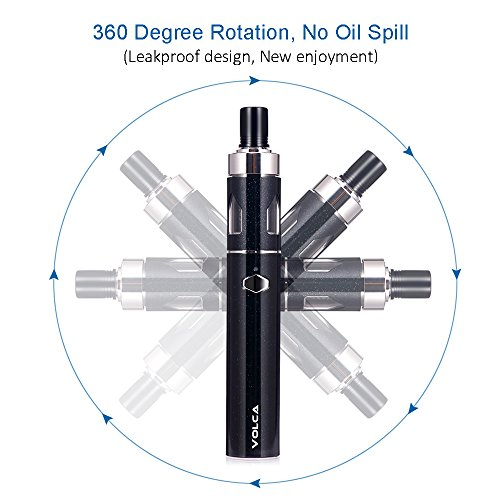 E cigarette starter kit, iJoy Volca Electronic Cigarette Vaping Pen Starter Kit, 0.6 ohm E Cig Vapour, Rechargeable Battery 1500mah Vaporizer, No Nicotine, No E Liquid (Black)