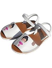 Menorquinas POPA - Sandalias de Vestir para Niña Blanco Blanco/Rosa