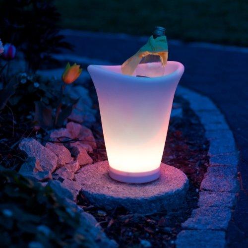 LED Sektkühler Weinkühler Champagnerkühler Getränkekühler mit LED und Farbwechsel, wasserdicht,...