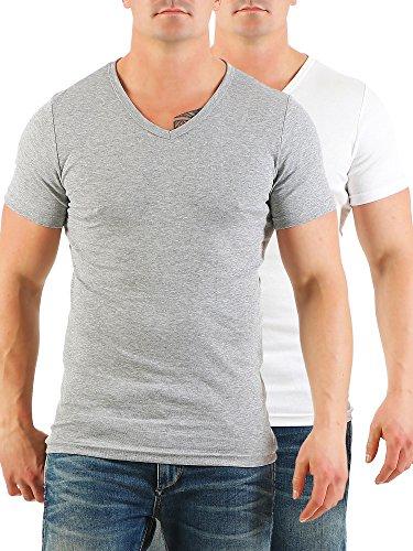 2er Pack Herren T-Shirt mit V-Ausschnitt Nr. 446/1500 Grau-Weiß