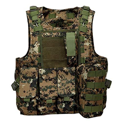Gilet Tactique, Camping en Plein air Chasse Pêche Randonnée Pistolet à air de Guerre Jeu Pochette détachable Formation au Combat Gilet Tactique, Jungle Camouflage numérique